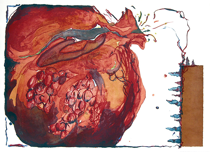 Sarah Dudley forbidden fruit print lithography pomegranate the-source large